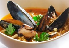 Farro Soup and Mussels